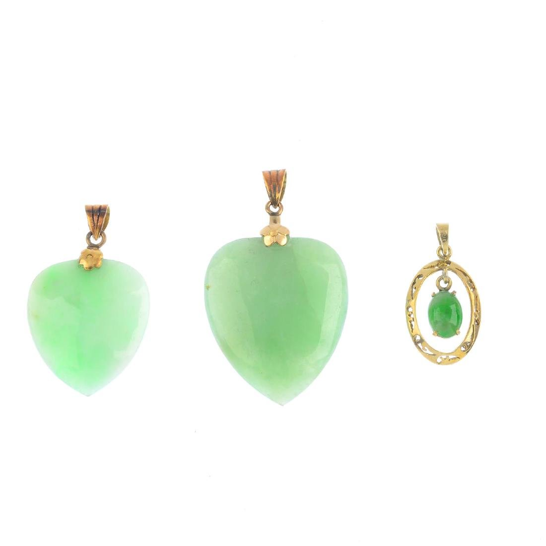 Three jade pendants. To include two heart-shape jade