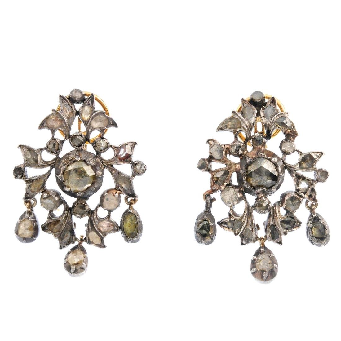 A pair of late Georgian diamond earrings. Each designed