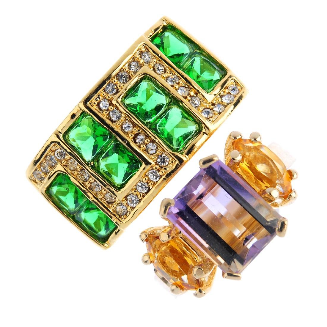 Three gem-set rings. To include an ametrine and citrine