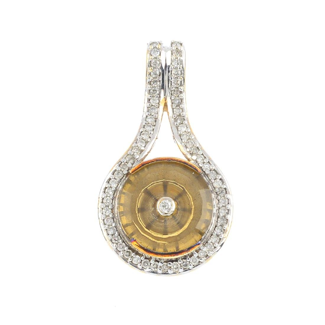 A 9ct gold diamond and smoky quartz pendant. The