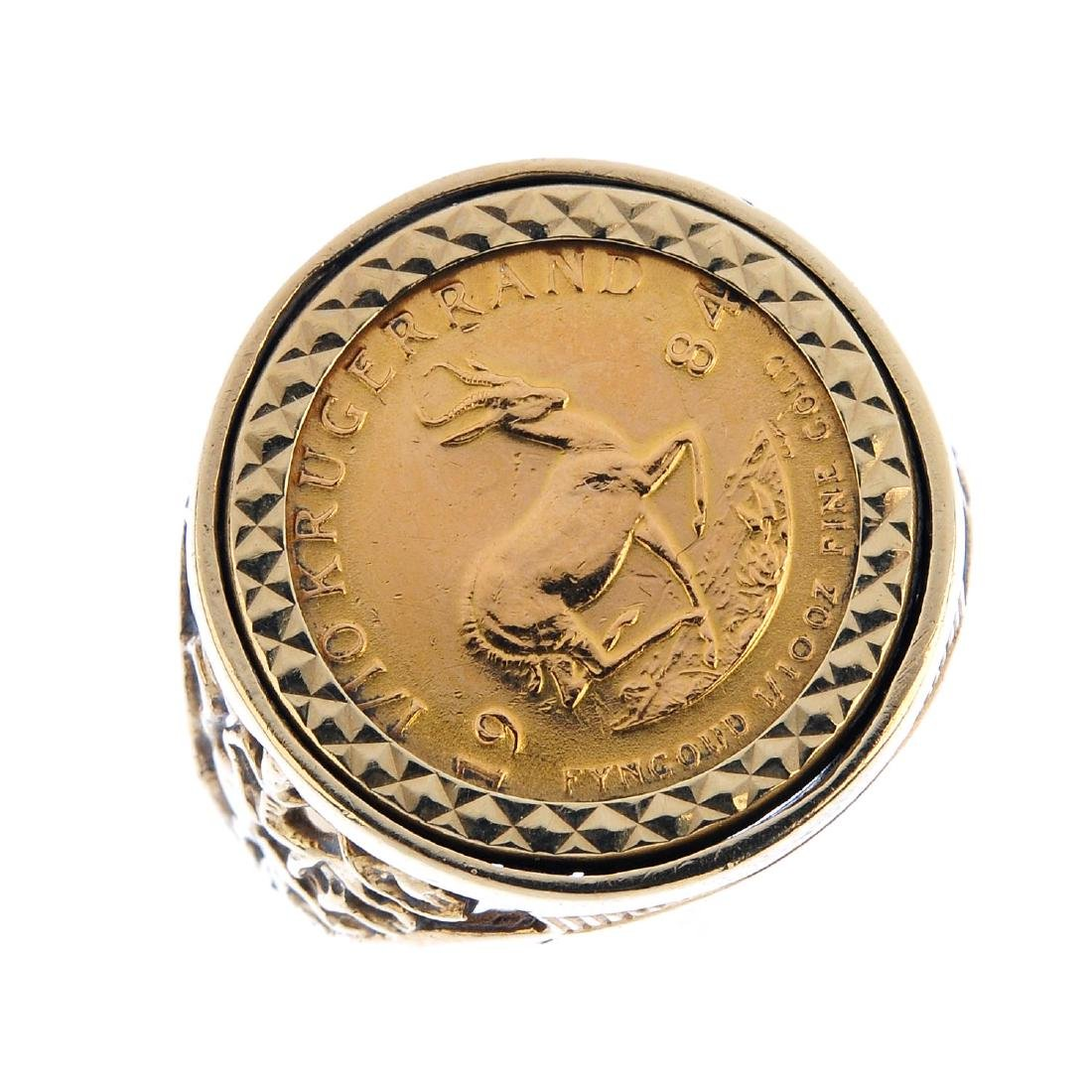 A 9ct gold 1/10th Krugerrand ring. The South African