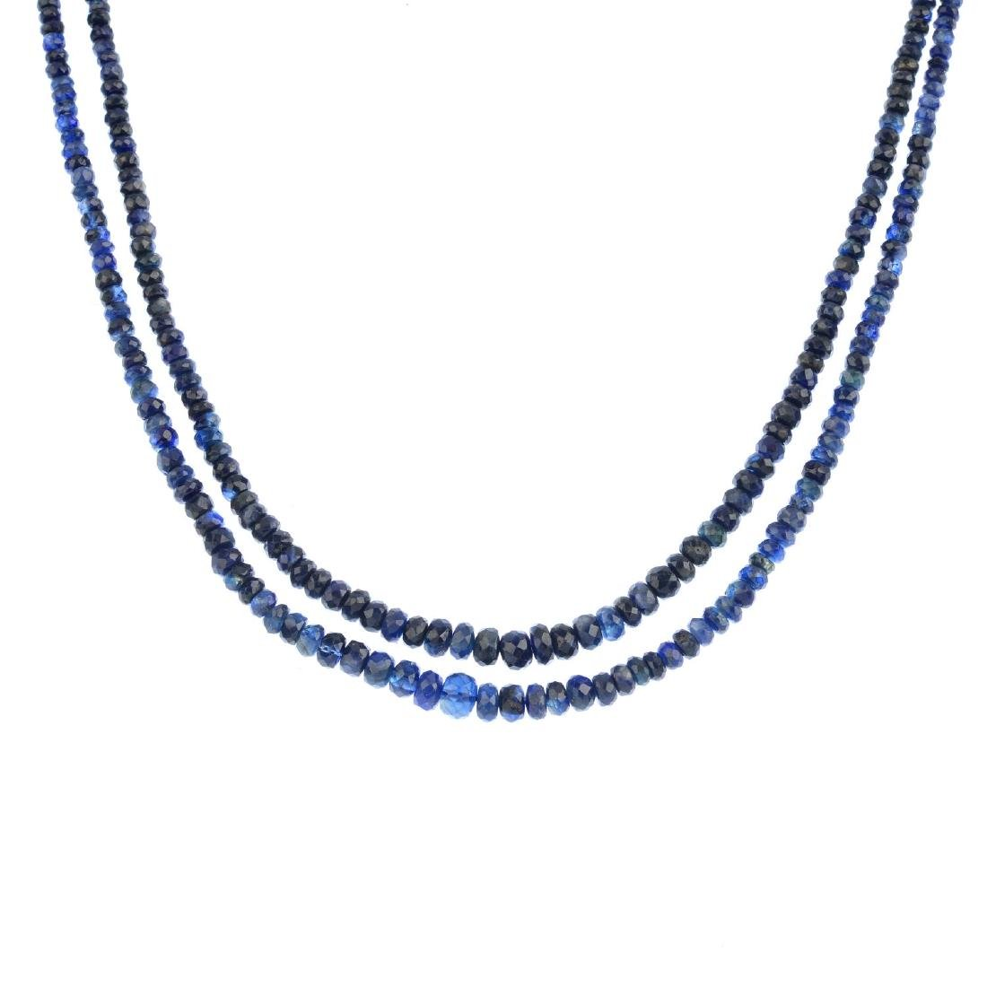 A sapphire necklace. Comprising a double-row of