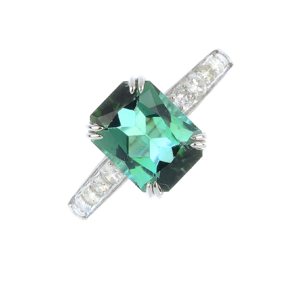 A tourmaline and diamond ring. The rectangular-shape