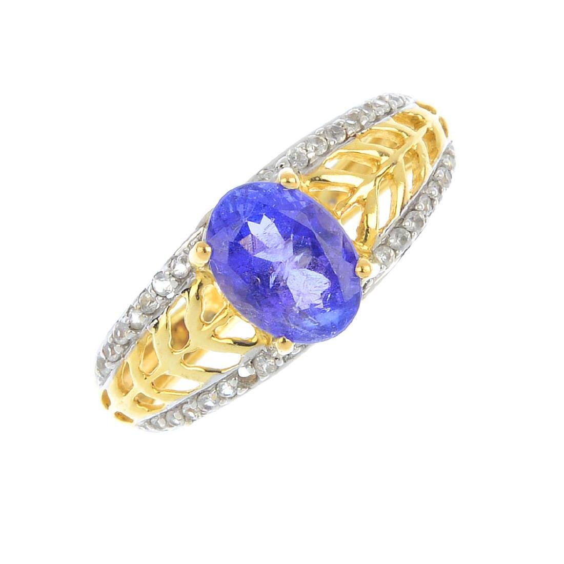 A tanzanite and colourless-gem dress ring. The