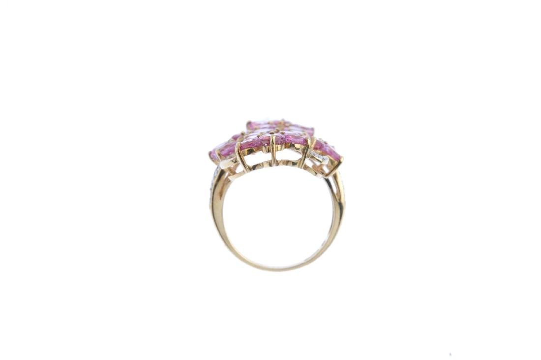 A 9ct gold coated topaz and diamond ring. Of openwork - 2