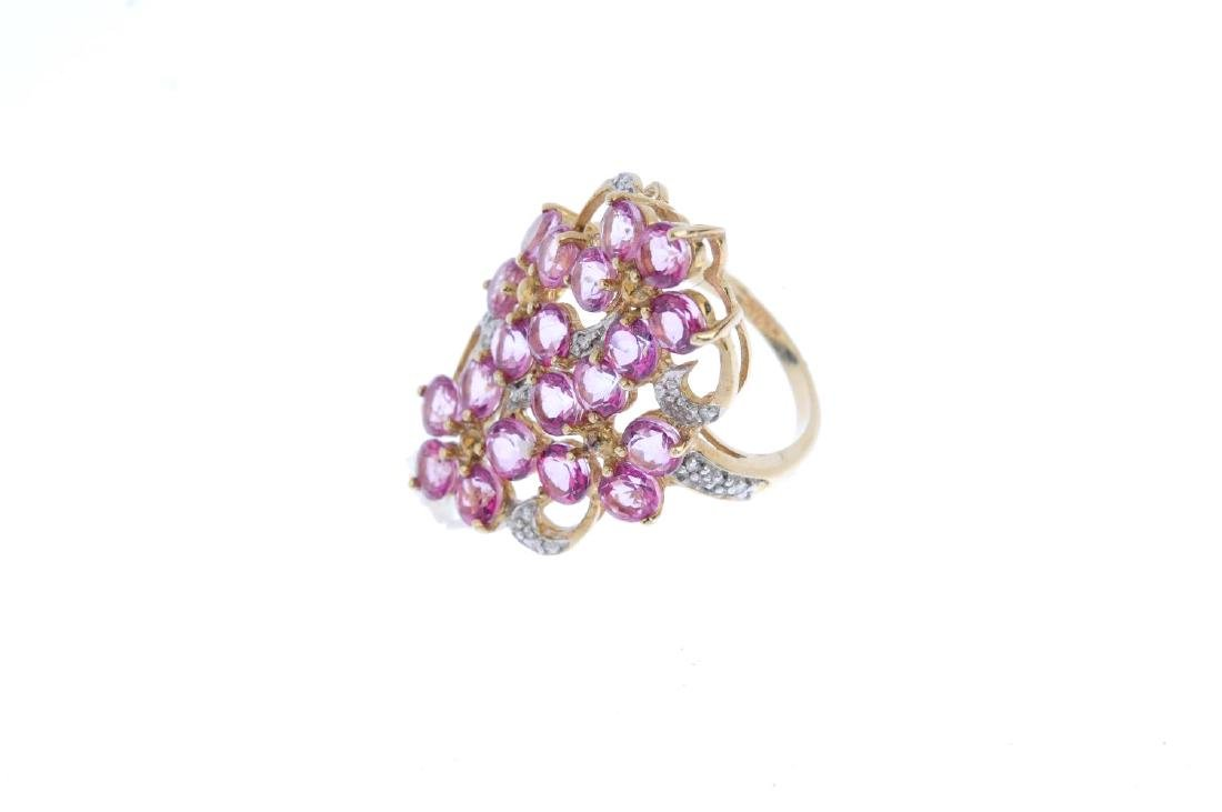 A 9ct gold coated topaz and diamond ring. Of openwork - 3
