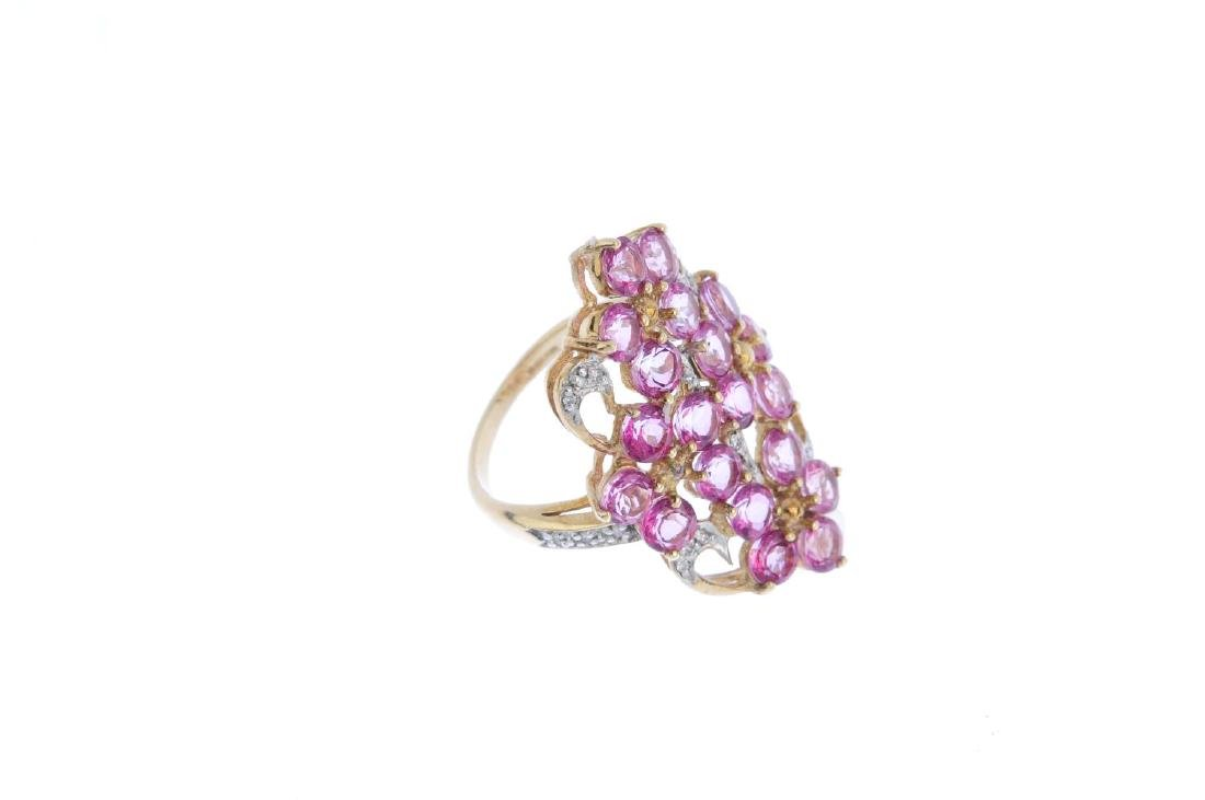 A 9ct gold coated topaz and diamond ring. Of openwork - 4