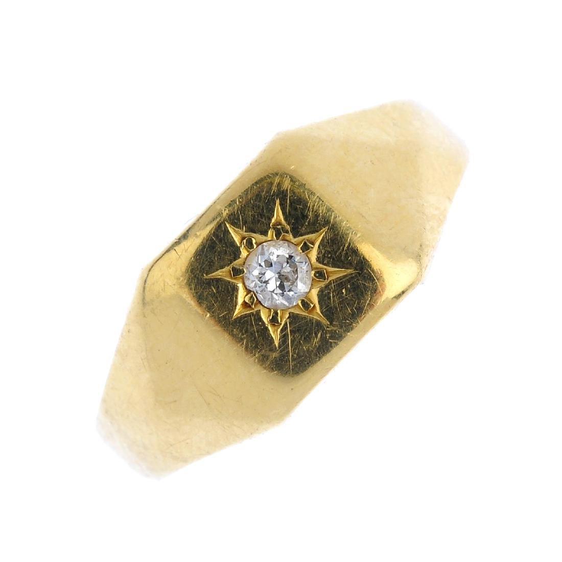 A gentleman's diamond signet ring. The old-cut diamond,