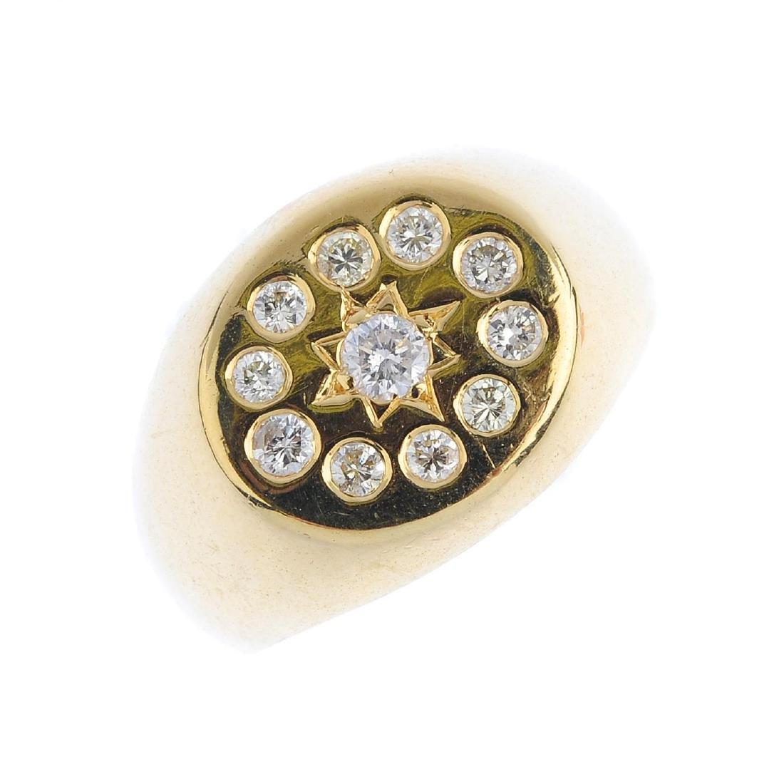 A gentleman's diamond signet ring. The brilliant-cut
