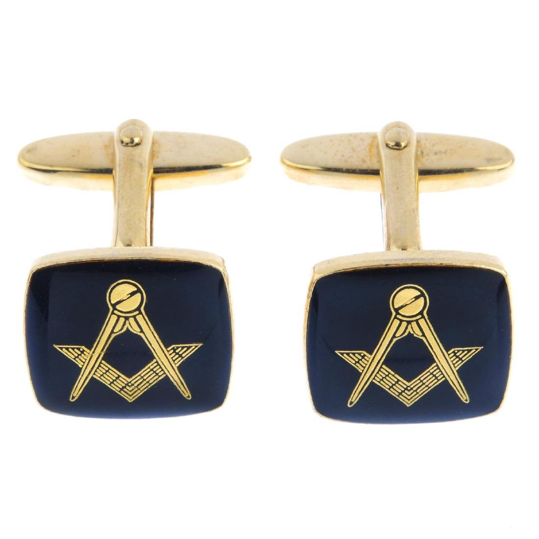 A Masonic ball pendant and a pair of Masonic cufflinks.