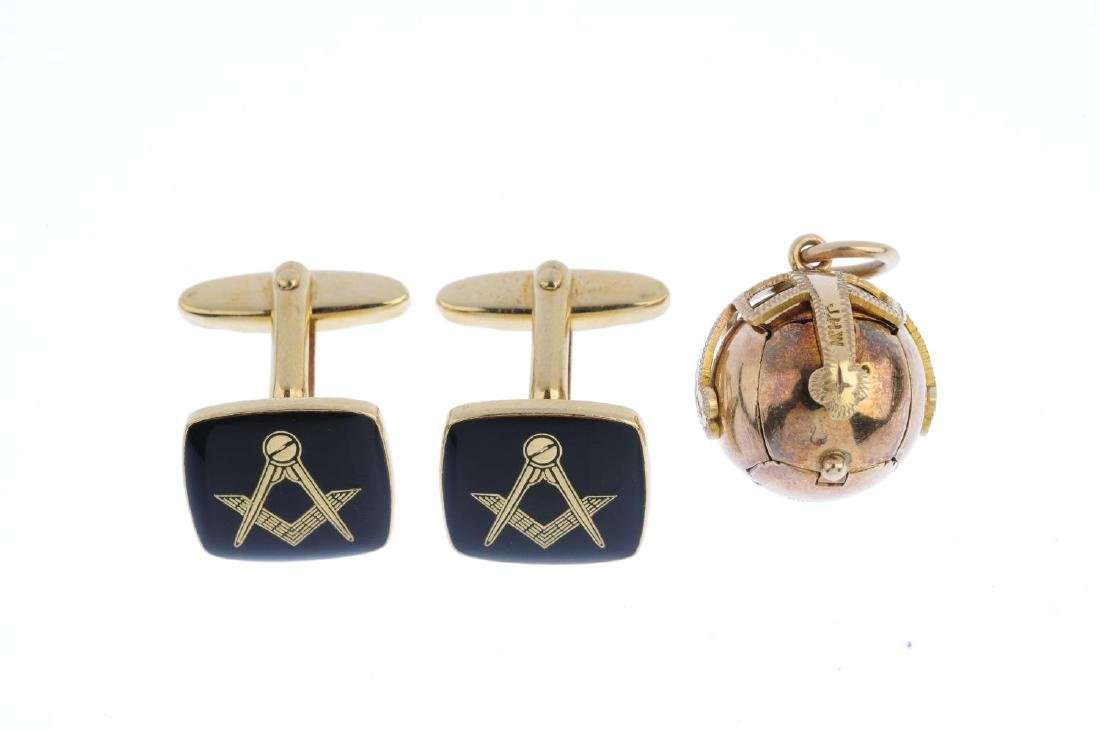 A Masonic ball pendant and a pair of Masonic cufflinks. - 2