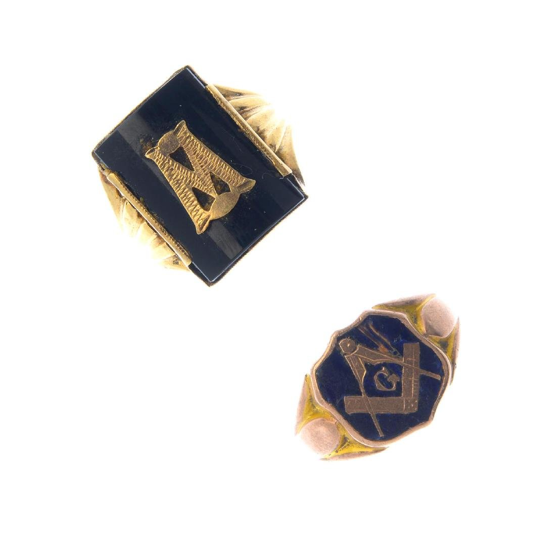 Two early 20th century Masonic signet rings. The first