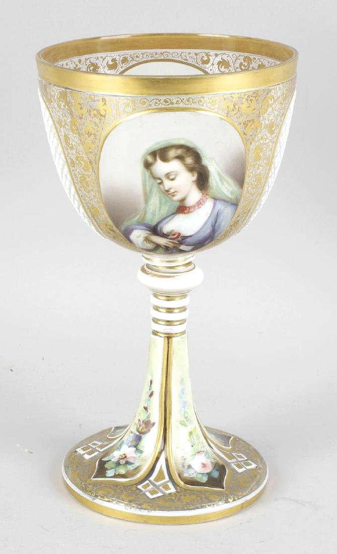 A Bohemian overlay white glass goblet, the wheel cut