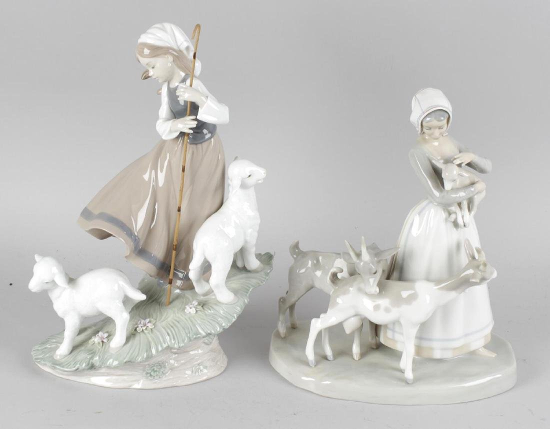 Two large Lladro figurines, Country Life, a young