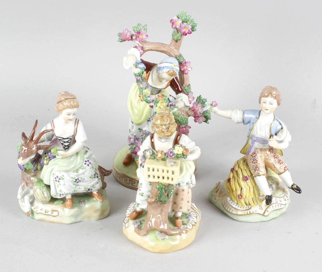 A group of five 20th century Dresden porcelain