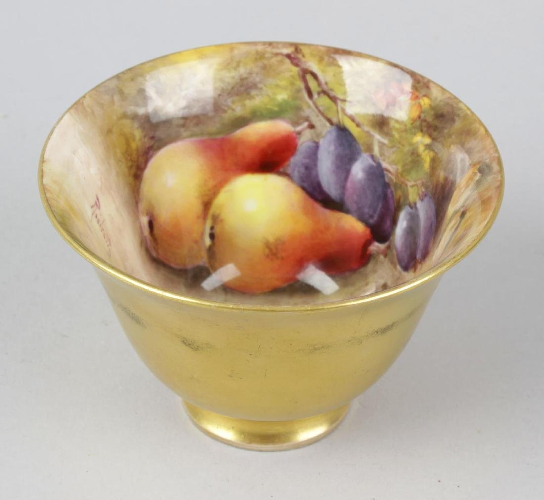 An unusual Royal Worcester porcelain fruit-painted tea