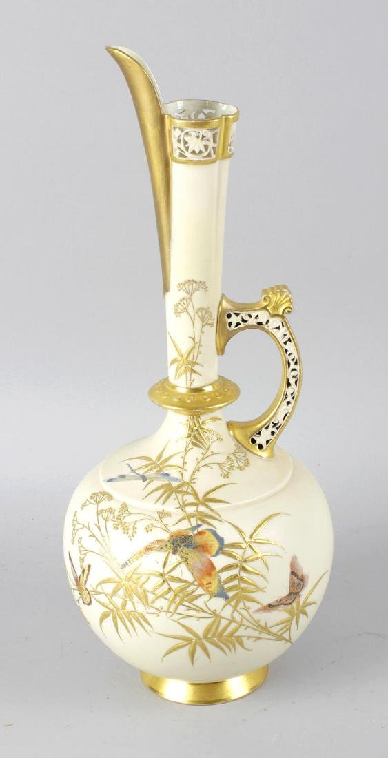A Royal Worcester bone china ewer, the blush ivory
