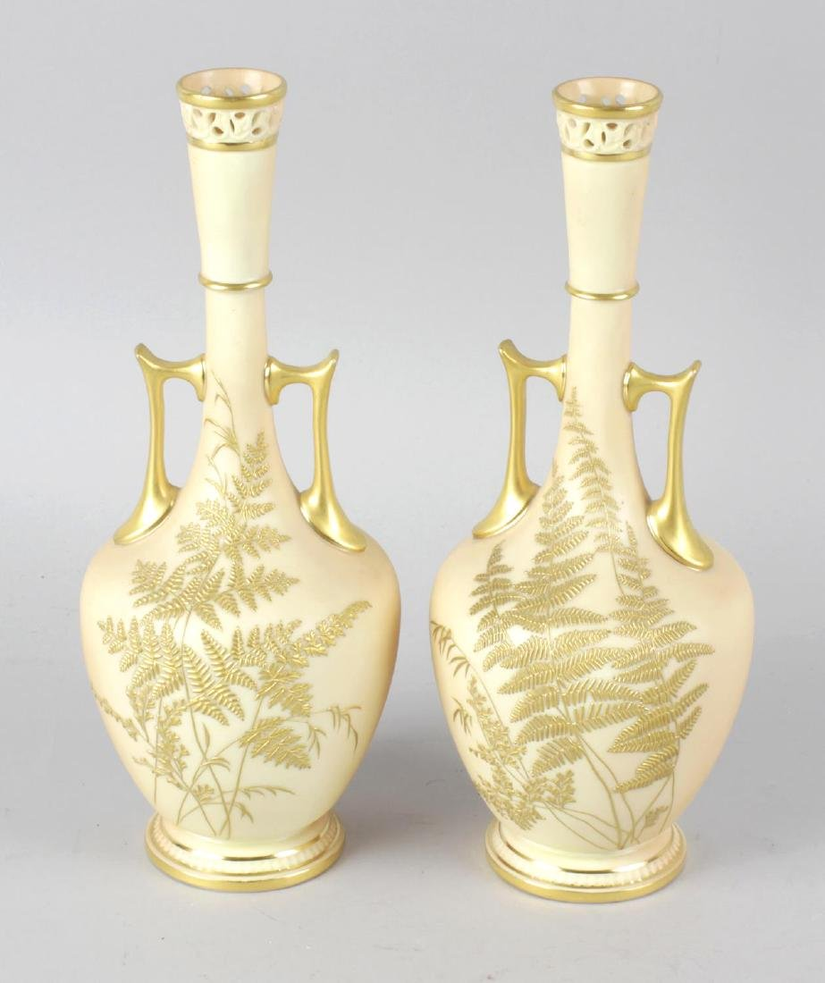 A pair of Royal Worcester bone china vases, the blush
