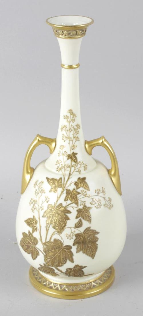 A Royal Worcester bone china vase, the ivory coloured