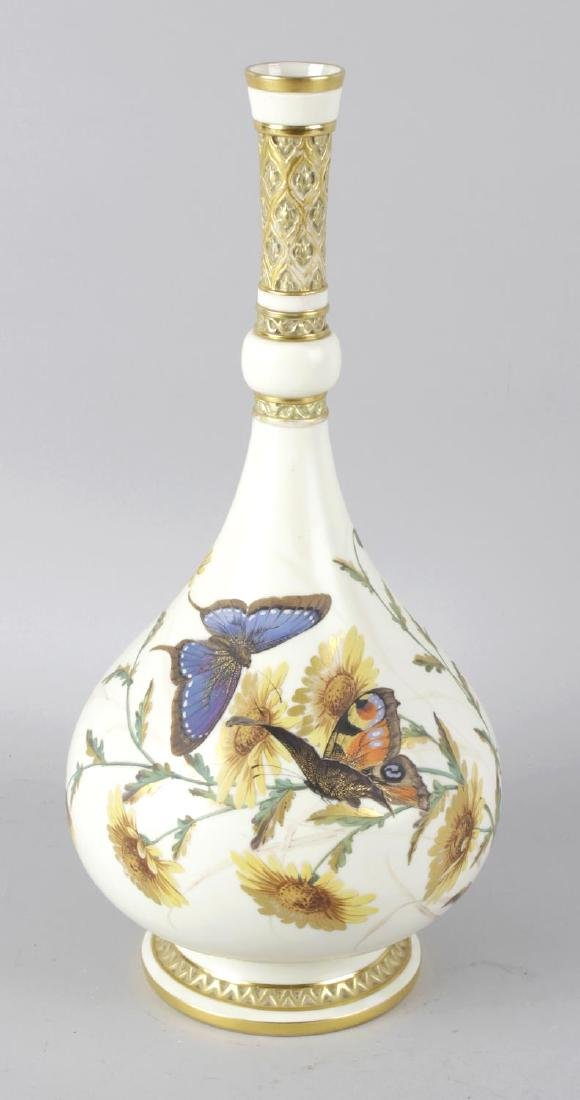A large Royal Worcester bottle shaped bone china vase,