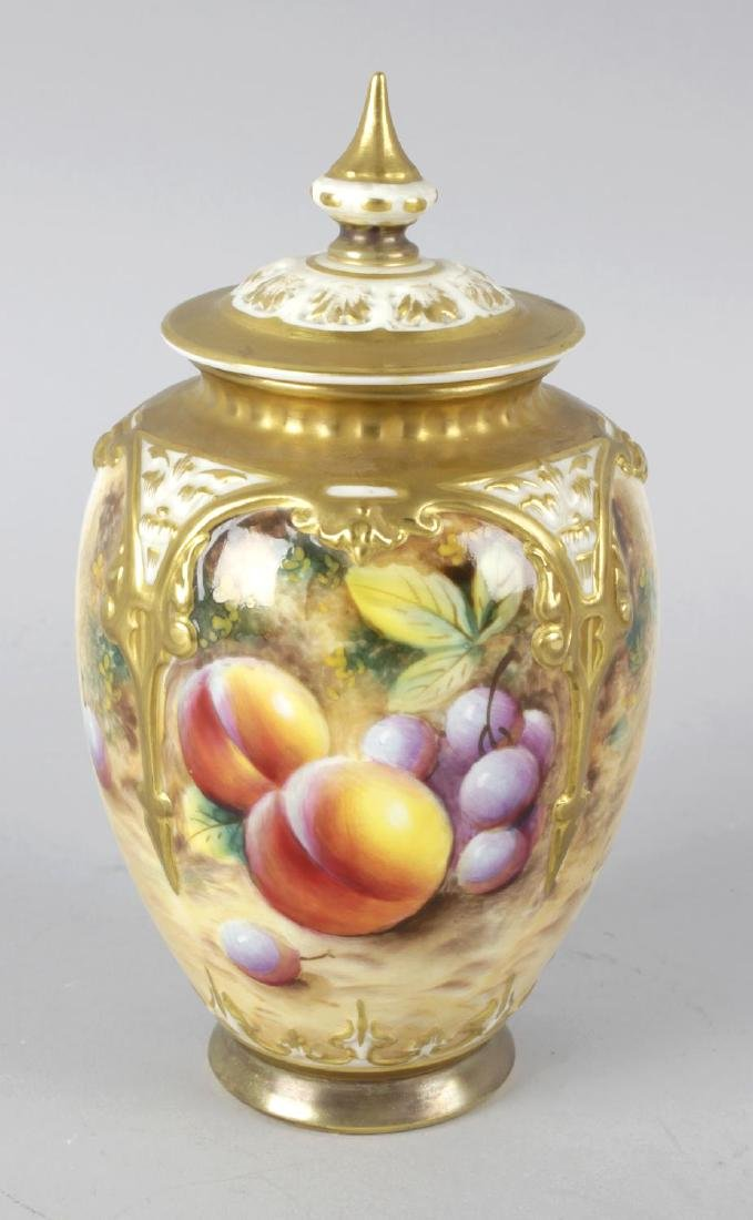 A Royal Worcester bone china vase, with pierced cover