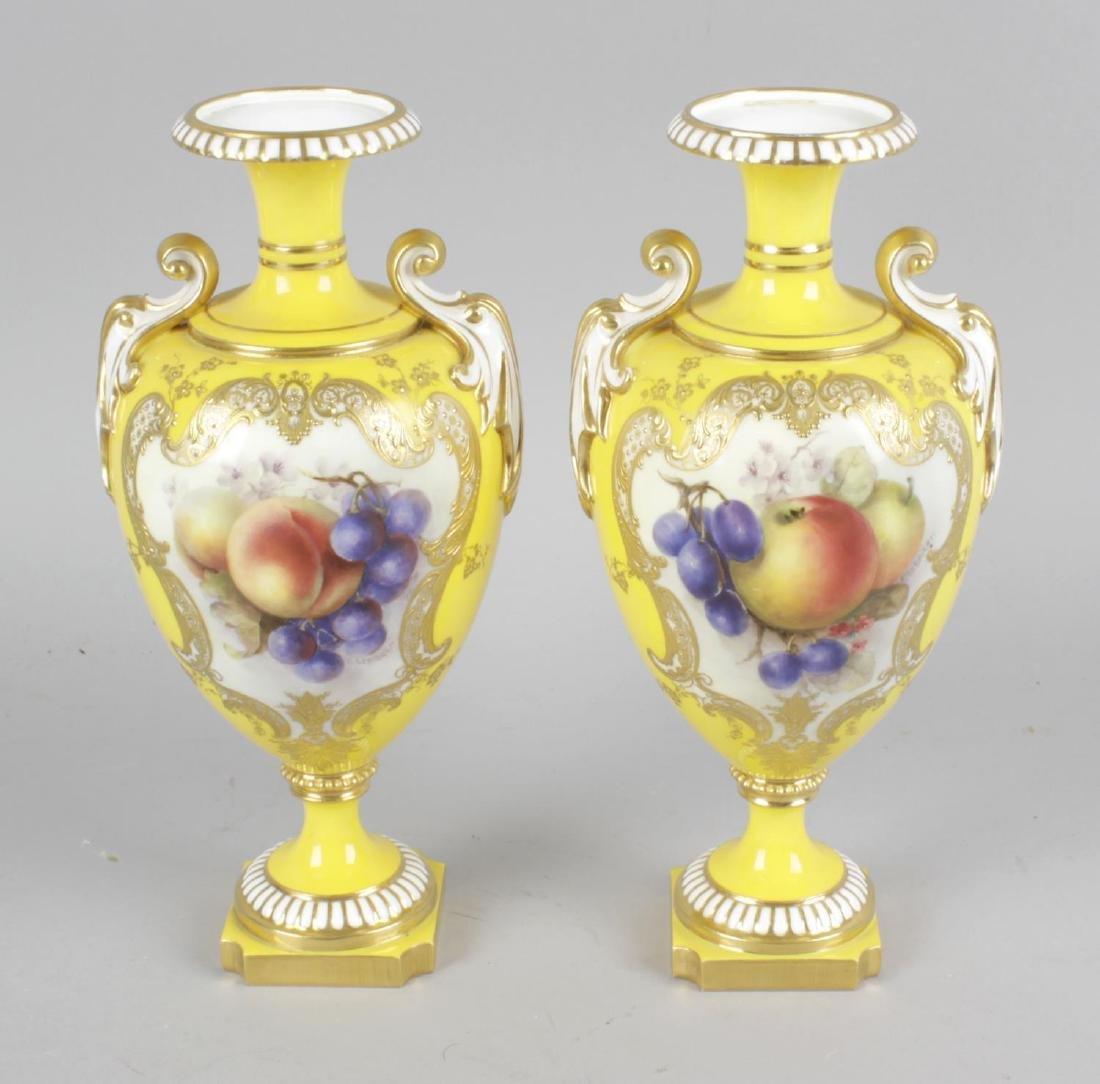 A pair of Royal Worcester bone china vases, the yellow