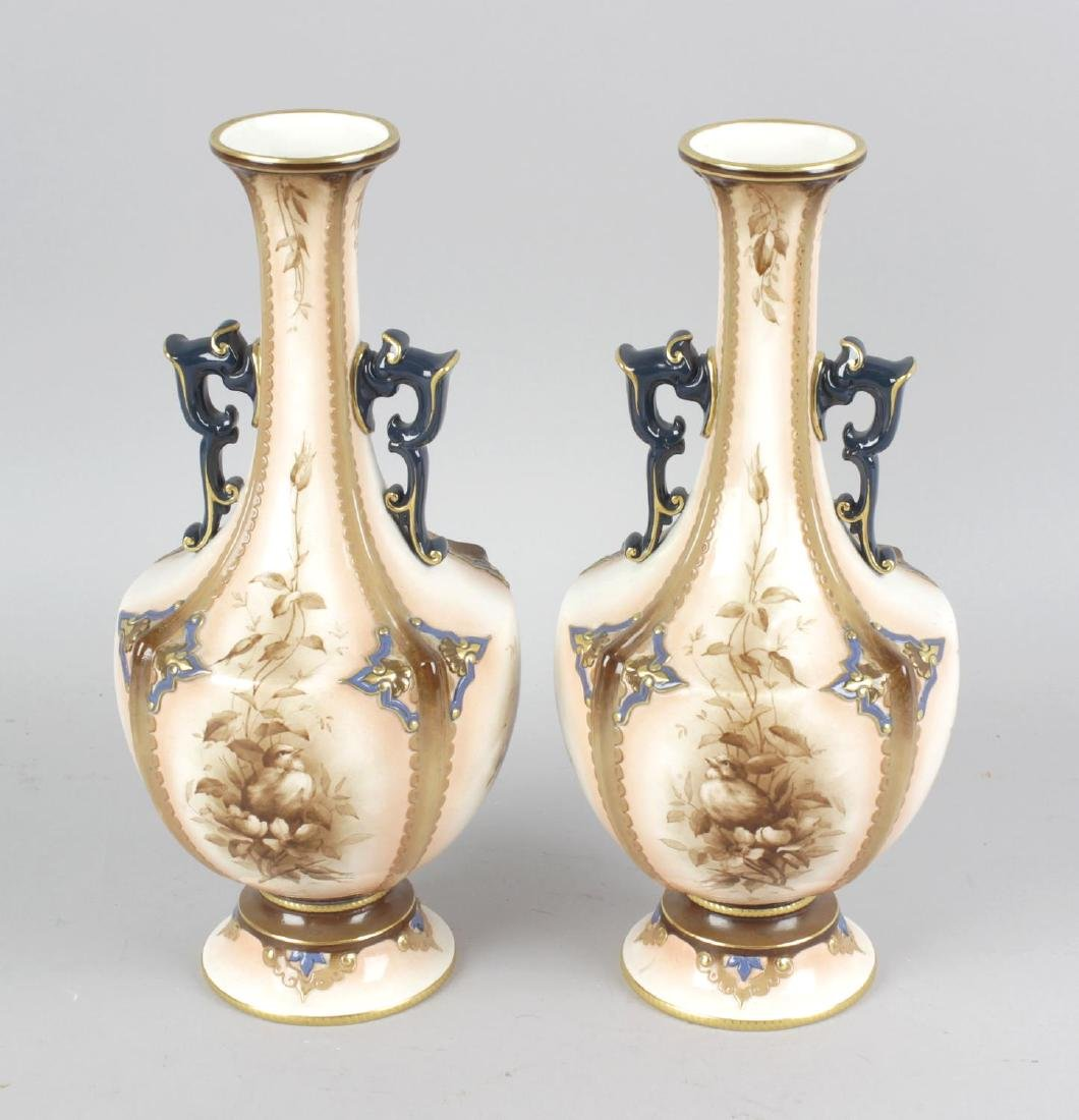 A pair of Hadley's Worcester faience vases, decorated
