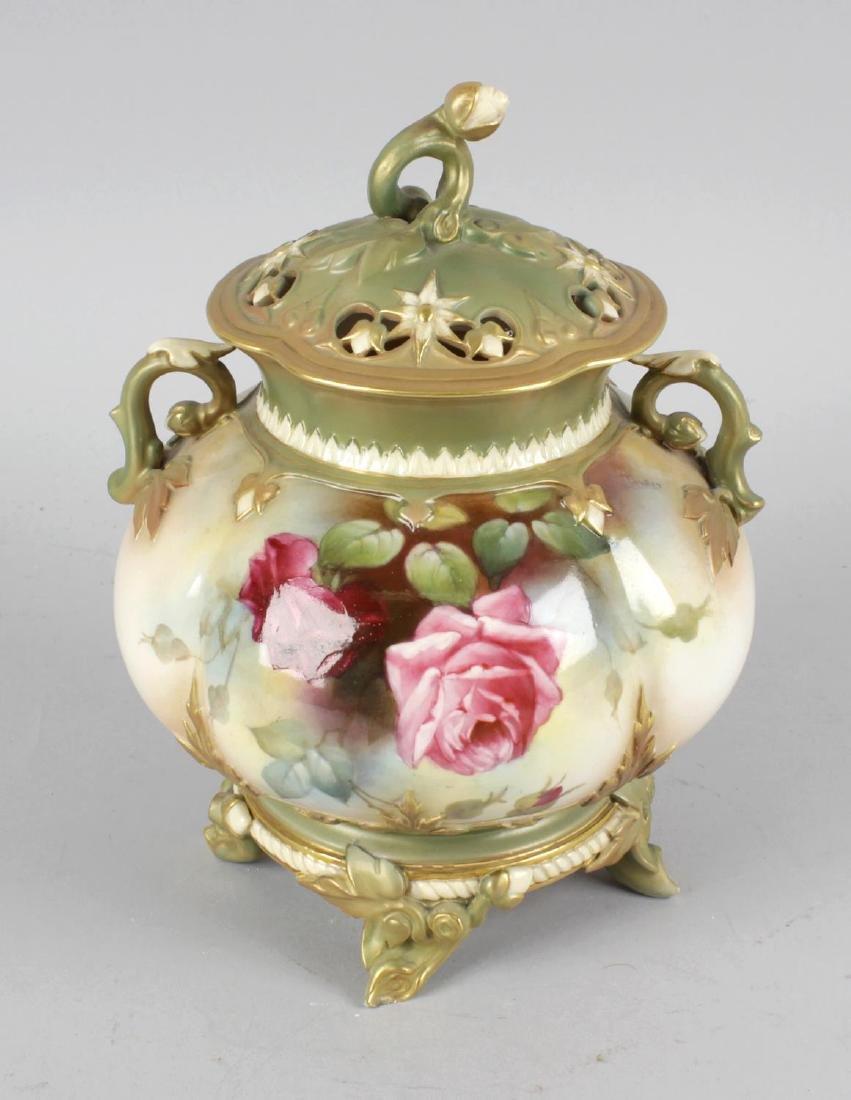 A Royal Worcester bone china cauldron shaped twin