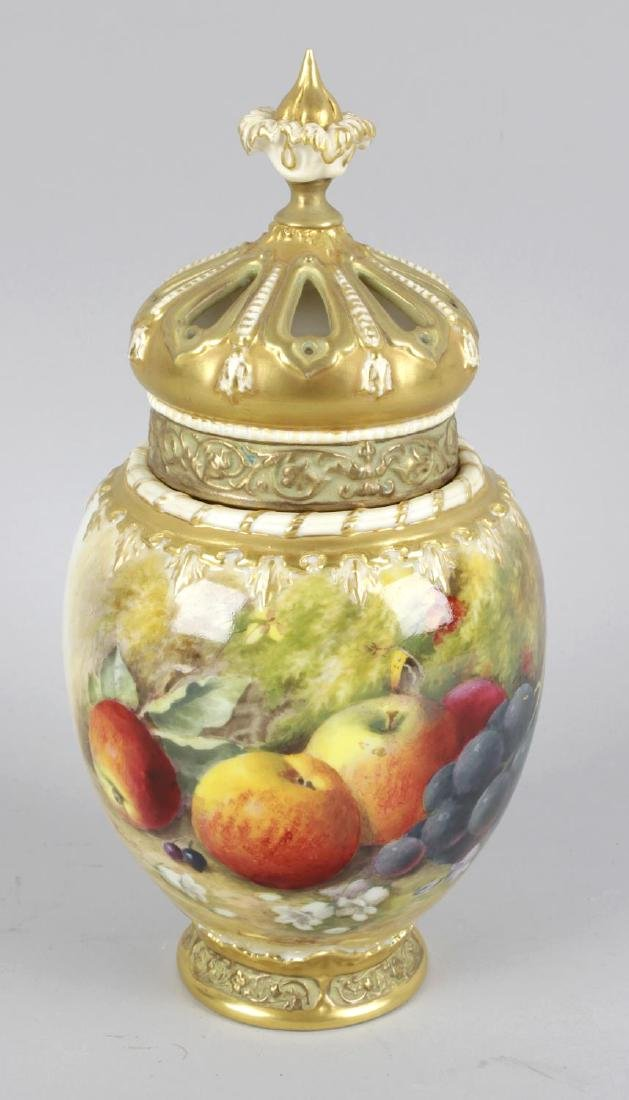 A Royal Worcester bone china potpourri vase and cover,