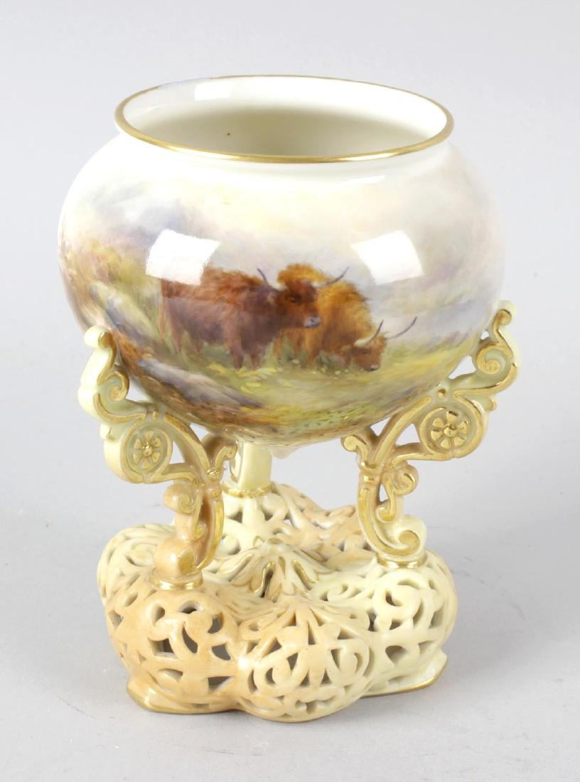 A Royal Worcester bone china vase by Harry Stinton, on