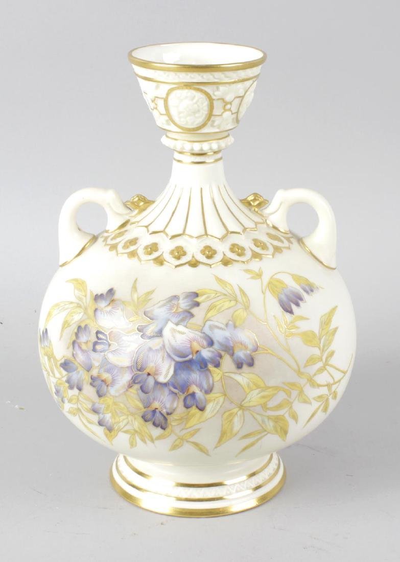 A Royal Worcester bone china twin handled globular