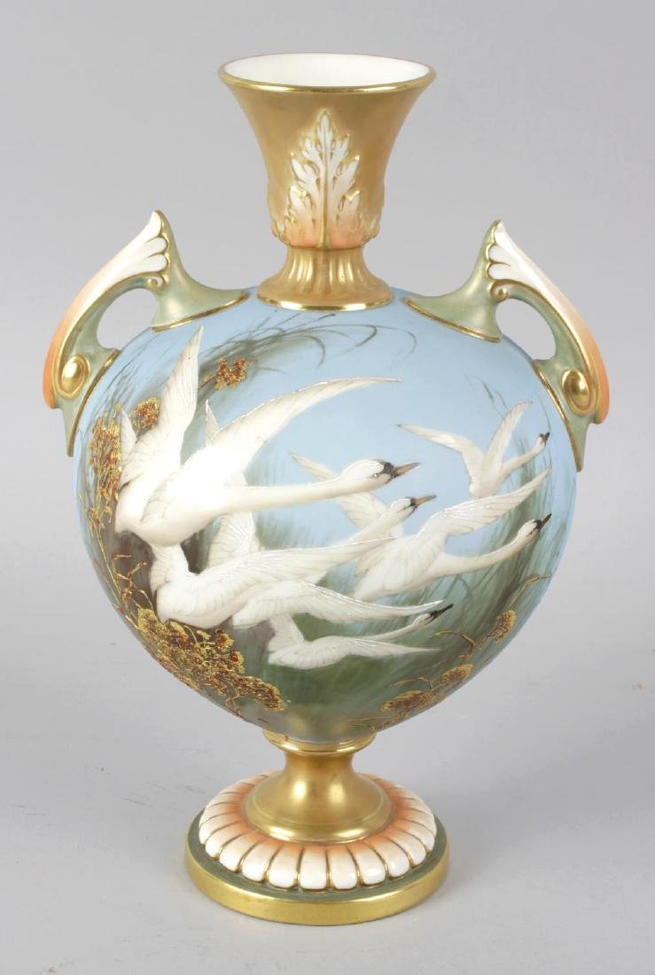 A Royal Worcester bone china vase by Charley Baldwin,