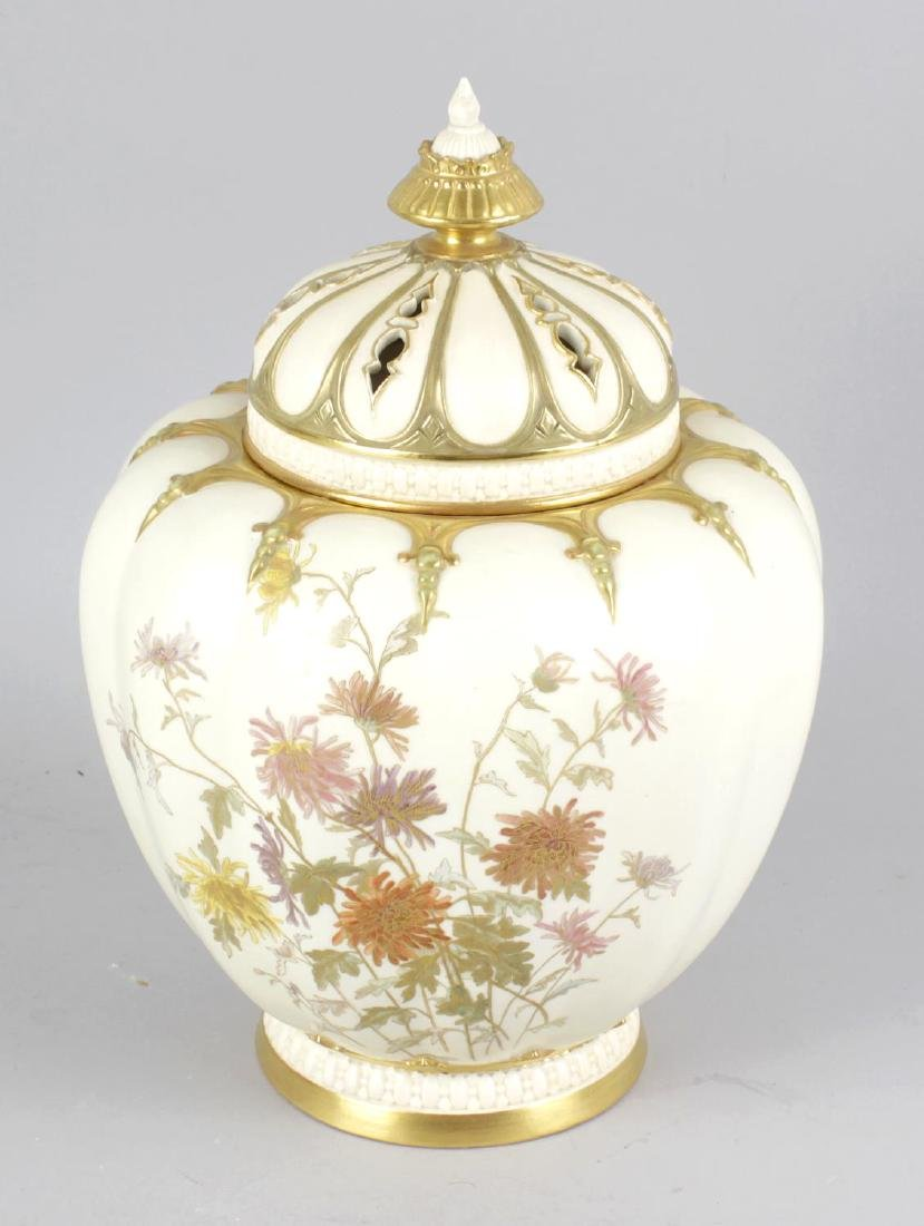 A Royal Worcester pot pourri vase and cover, the blush