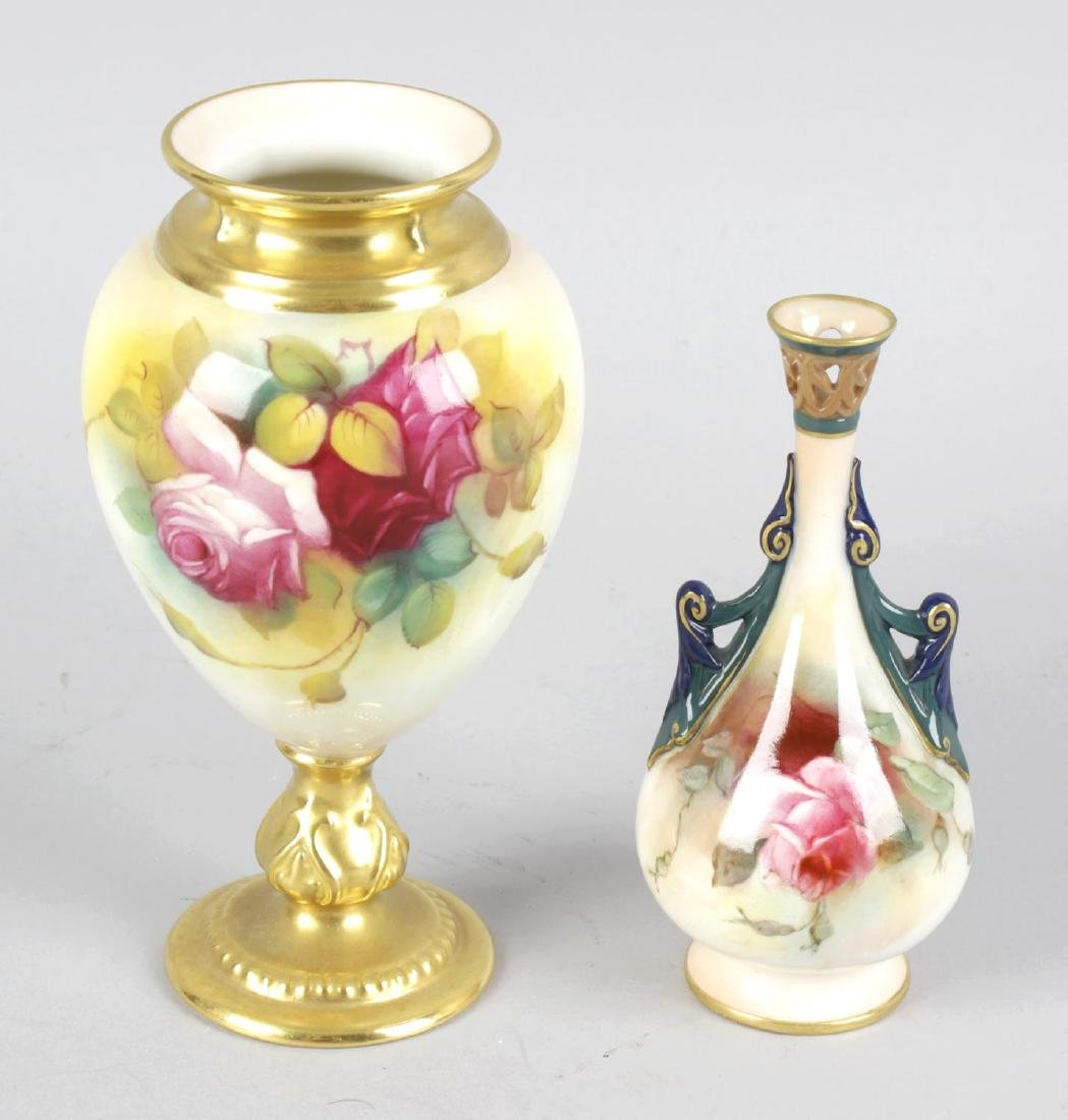 A Royal Worcester bone china vase of ovoid shaped form