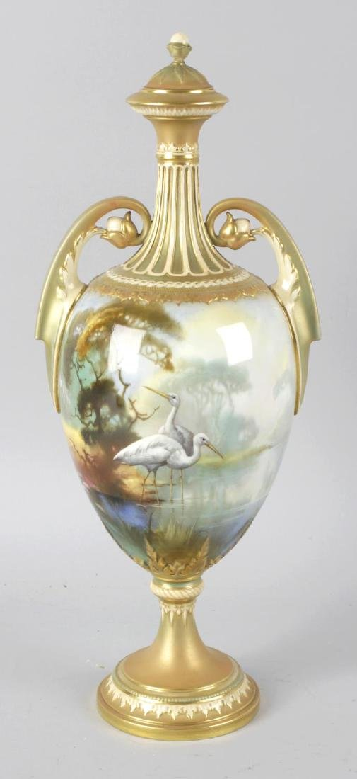 A Royal Worcester bone china twin handled vase and