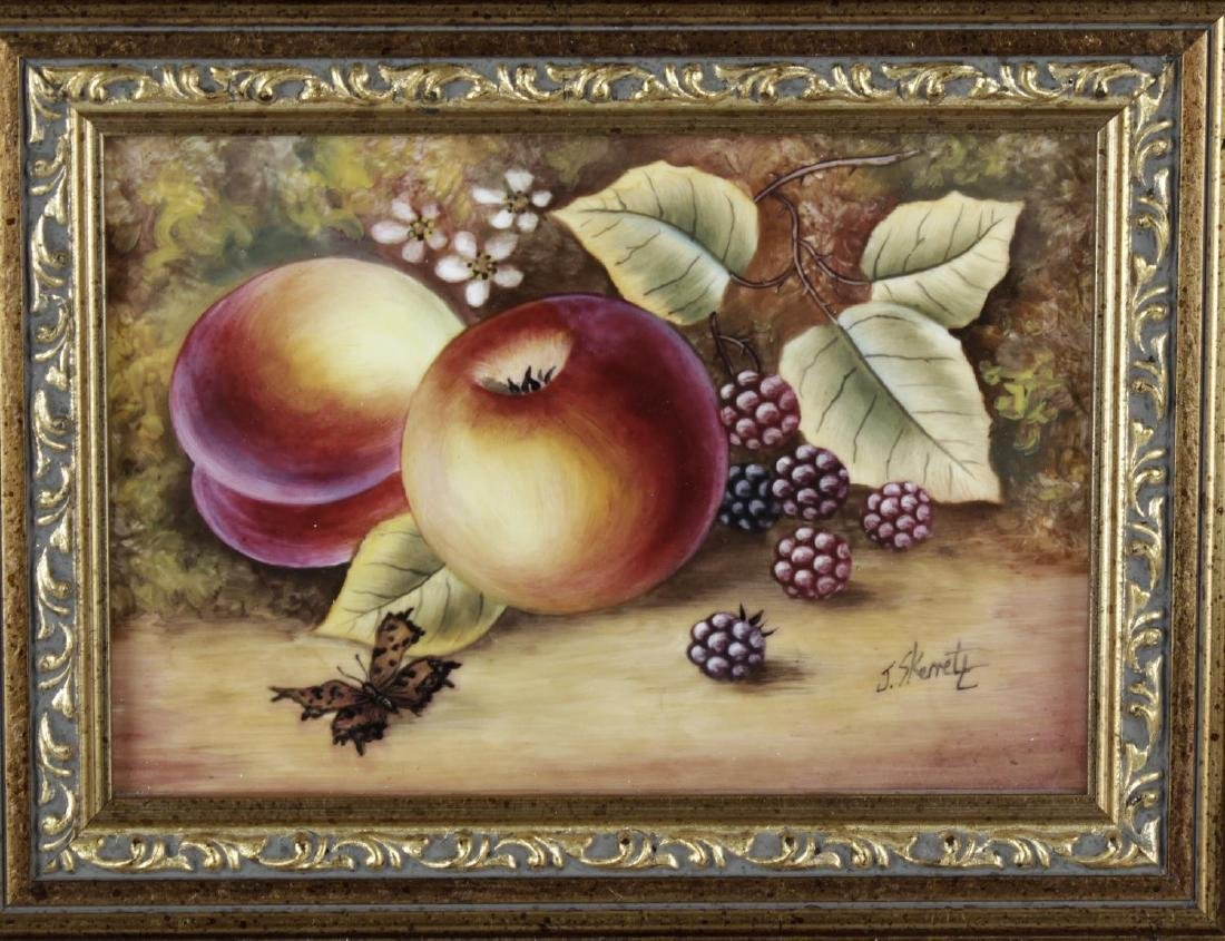 A pair of fruit-painted porcelain plaques by ex Royal