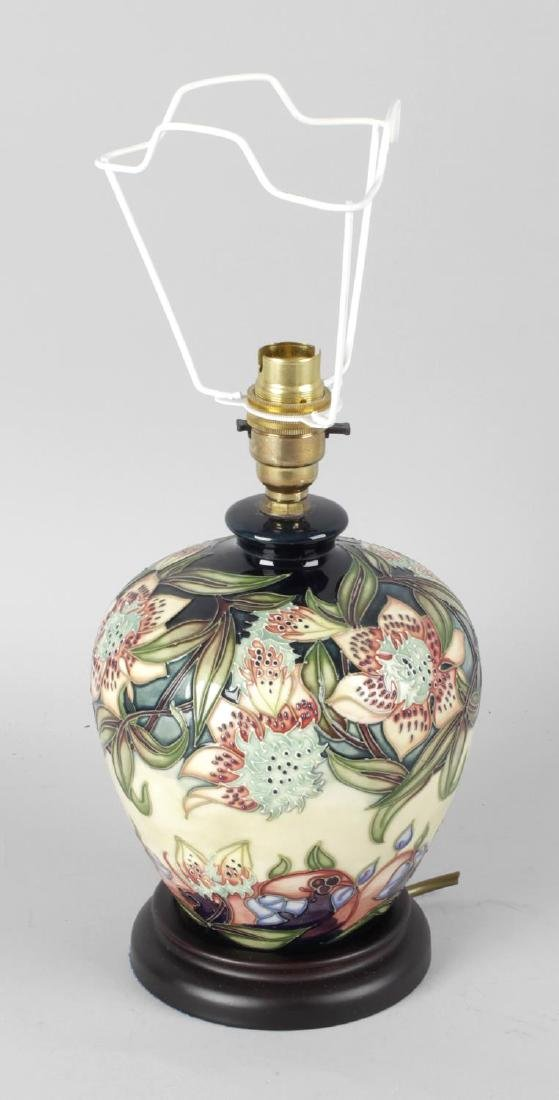 A modern Moorcroft pottery lamp base, the cream and