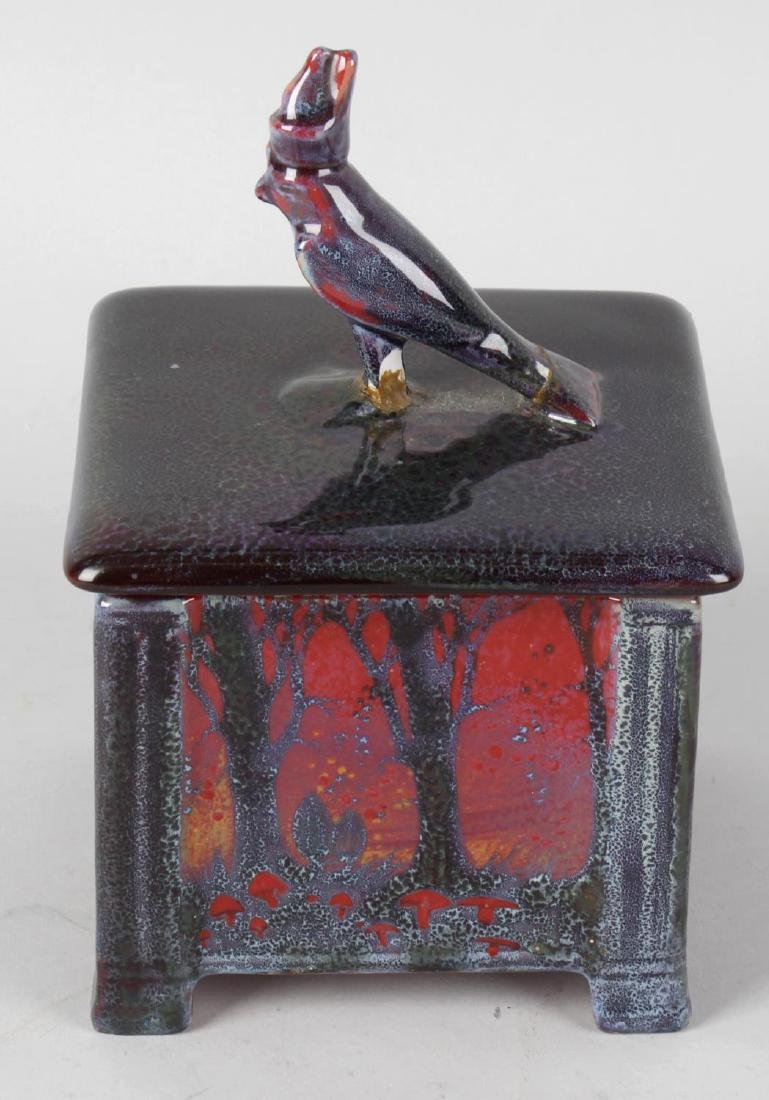 A rare Doulton Sung flambe box and cover. Of square