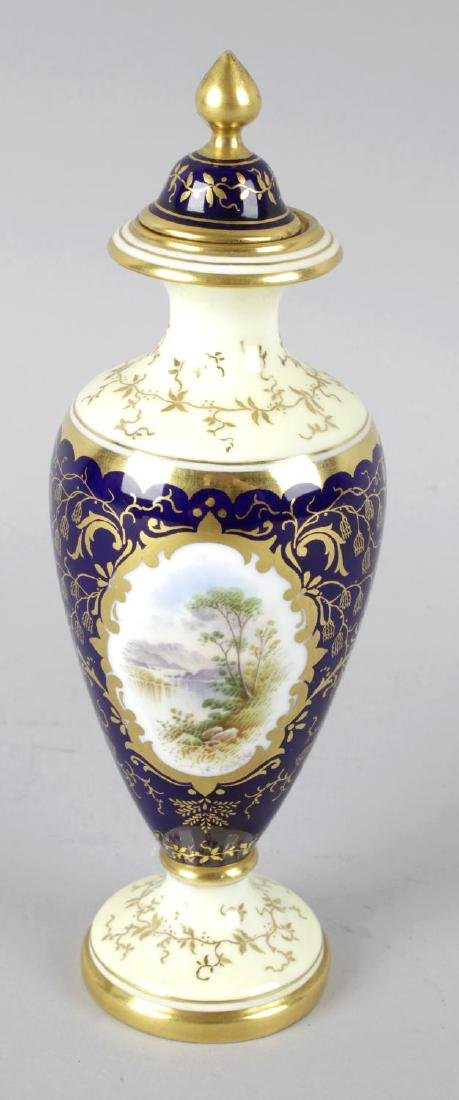 A Coalport bone china vase and cover, the cobalt blue