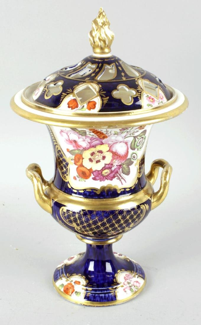 A Coalport bone china twin handled vase and cover, the