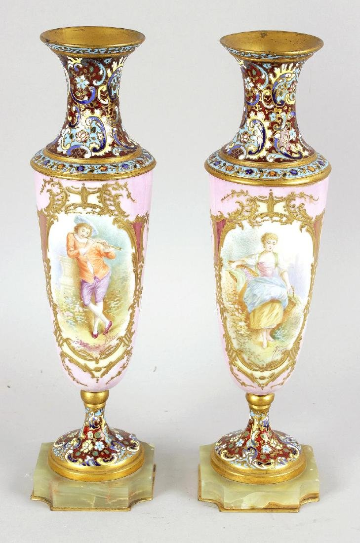 A pair of 19th Century porcelain and enamel vases of