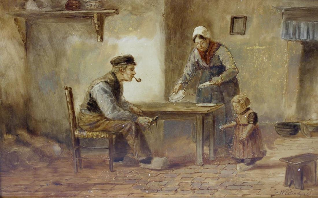A Dutch painting on ceramic panel. Depicting a family