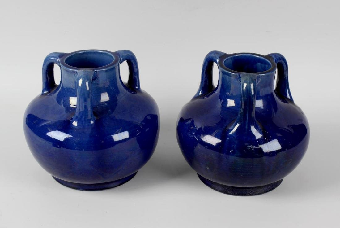 A pair of Japanese Awaji Art Nouveau pottery vases,