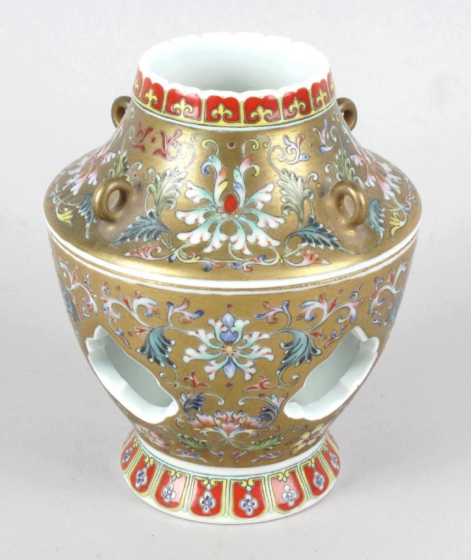 A Chinese porcelain Qianlong-style incense burner and