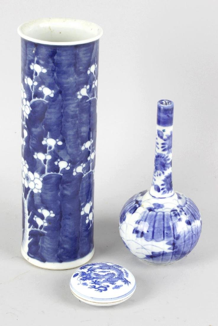 Three items of Oriental blue and white porcelain.