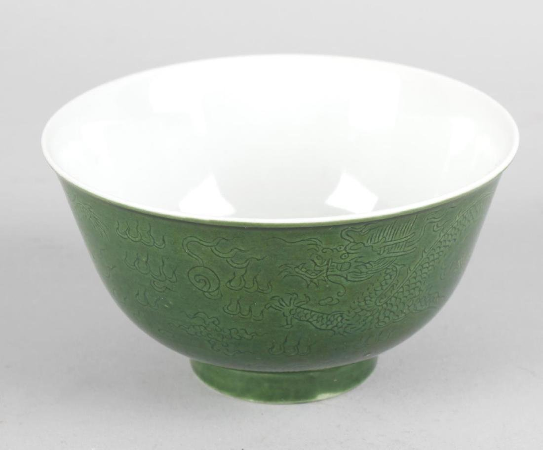 A good Chinese green-glazed porcelain dragon bowl. With