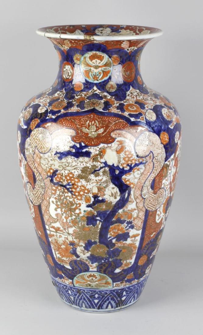 A large 19th century Japanese Imari vase. The ovoid