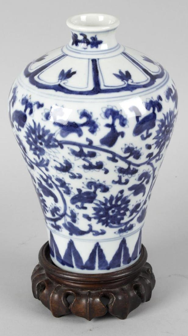 A Chinese Mei Ping blue and white porcelain vase, upon