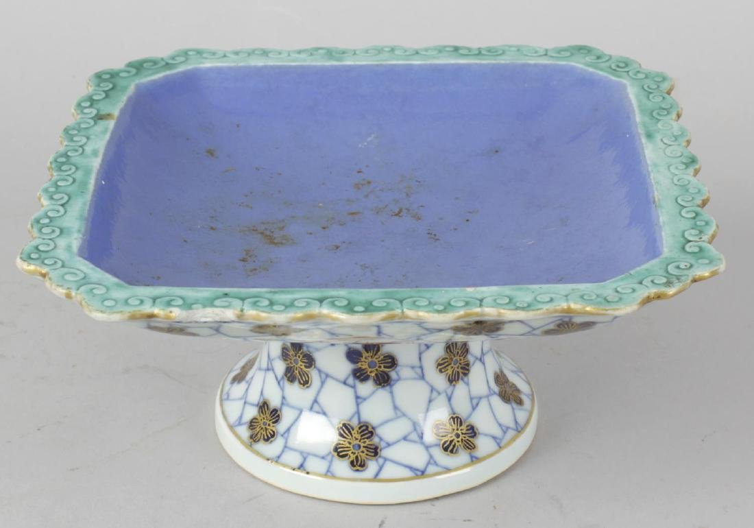 A Chinese porcelain pedestal dish or comport. The