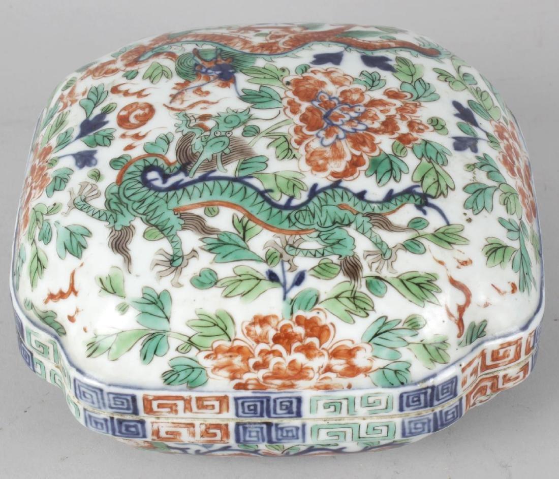 A good Chinese porcelain wucai quatrefoil box and